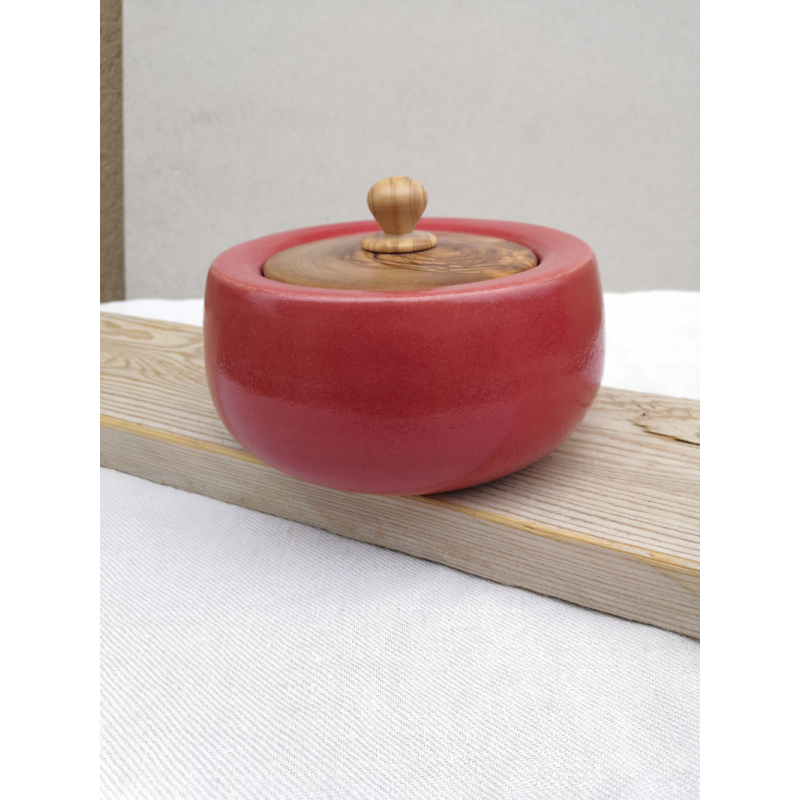 Boite céramique avec couvercle en Olivier